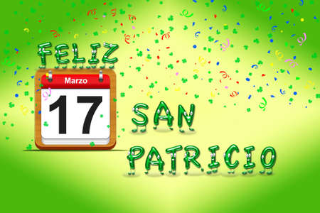 Illustration with a St Patrick day calendar  Stock Illustration - 17288285