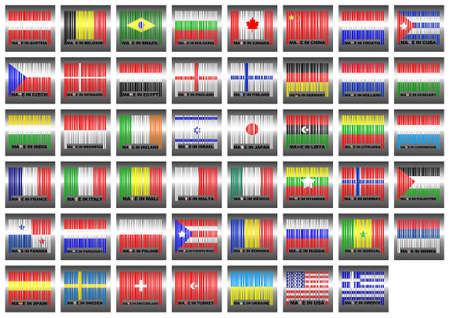 Illustration with a Barcode contries flag of world  illustration