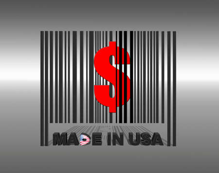 Illustration with a barcode made in usa  illustration