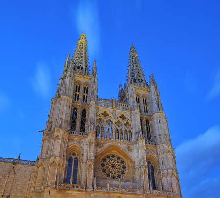 View Burgos cathedral night in Burgos, spain  photo