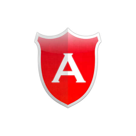 Illustration with letter A secure shield on white background  illustration