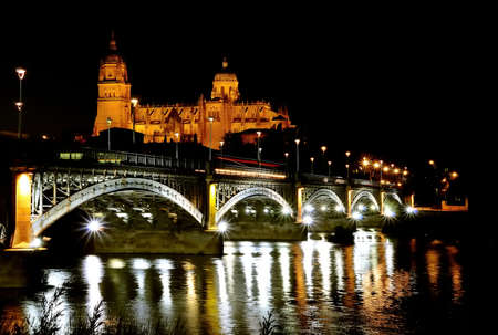 View a Salamanca cathedral night in Spain  photo