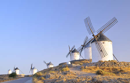View of Windmills in Consuegra Toledo, Spain  photo