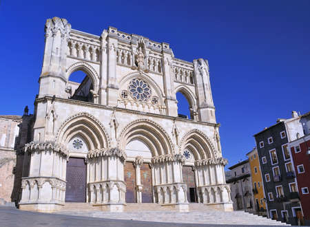 View of facada Cuenca cathedral in Spain  photo