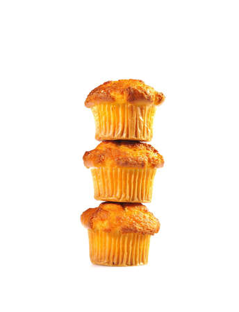 Home made muffins isolated on white background  photo