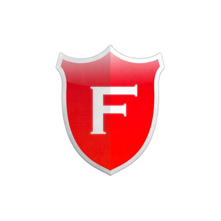 Illustration with letter F secure shield on white background  illustration