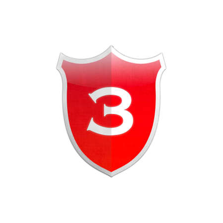 Illustration with number 3 secure shield on white background  illustration