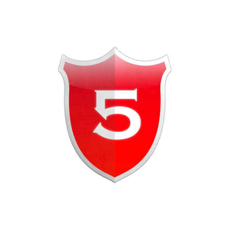 Illustration with number 5 secure shield on white background  illustration