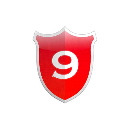 Illustration with number 9 secure shield on white background Stock Illustration - 17510814