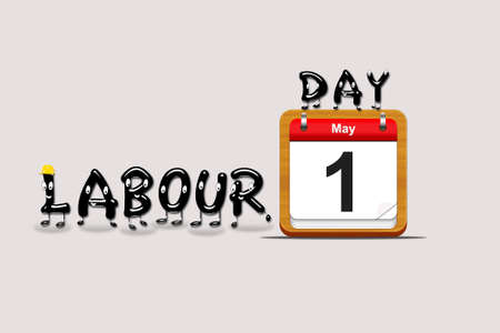 labour day: Illustration with a labour day  calendar on a grey background  Stock Photo