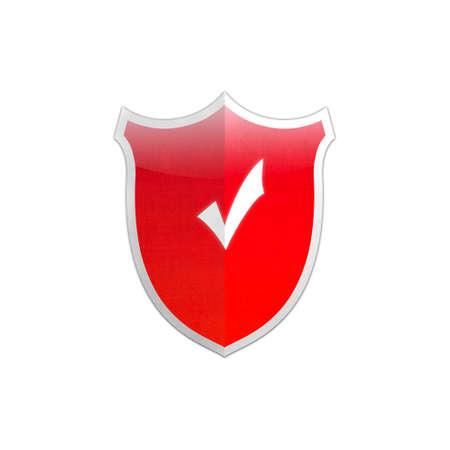 Illustration with Ok sign secure shield on white background Stock Illustration - 17815060