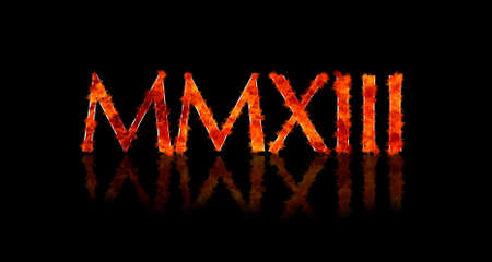 Illustration with a 2013 Roman numerals in flame  illustration
