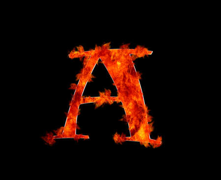 Illustration with a letter A in burning  illustration