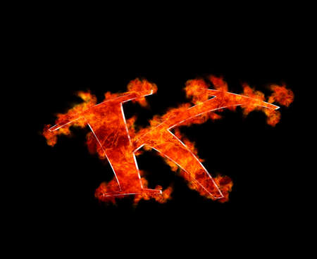 Illustration with a letter K in burning  illustration