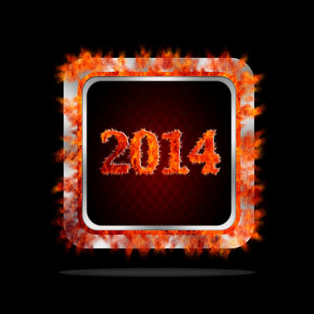 Aluminum frame illustration with happy 2014 burning signal  illustration
