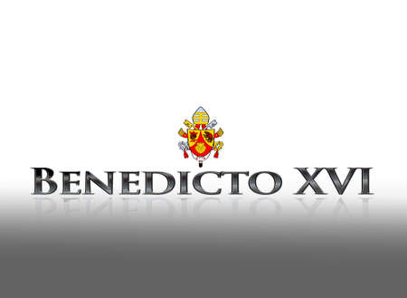 xvi: Illustration with word Benedicto XVI on white background  Stock Photo