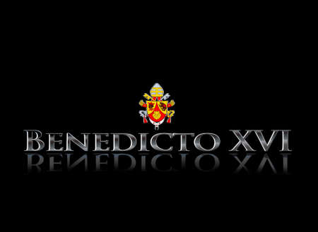 xvi: Illustration with word Benedicto XVI on black background
