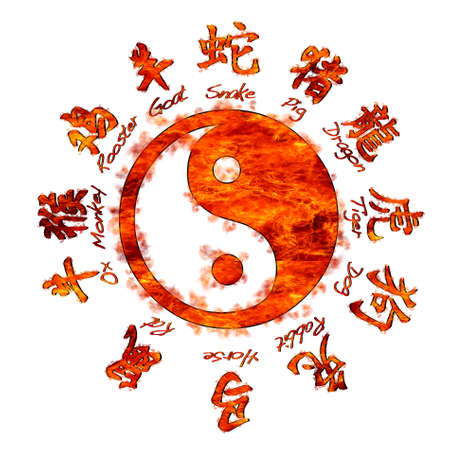 Illustration with Chinese zodiac signs and yin yang