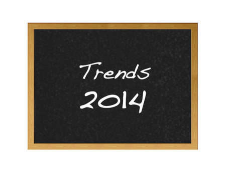 Isolated blackboard with 2014 trends on white background  photo