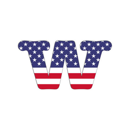 Illustration with letter W USA Abc flag on white background  illustration