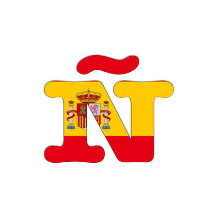 ntilde: Illustration with letter � Spain Abc on white background