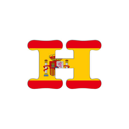 Illustration with letter H Spain Abc on white background  illustration
