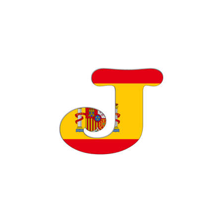 Illustration with letter J Spain Abc on white background  illustration