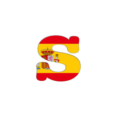 Illustration with letter S Spain Abc on white background  illustration