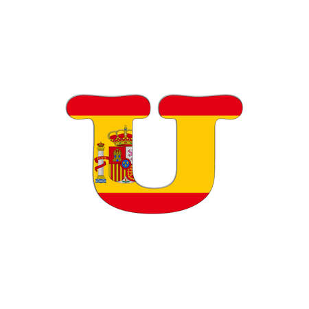 Illustration with letter U Spain Abc on white background  illustration