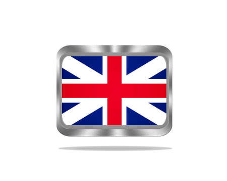 Illustration with a metal United Kingdom flag on white background  illustration