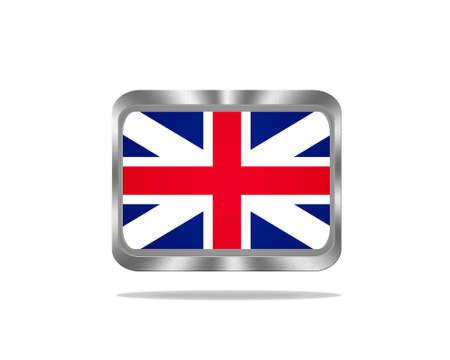 Illustration with a metal United Kingdom flag on white background Stock Illustration - 17972910