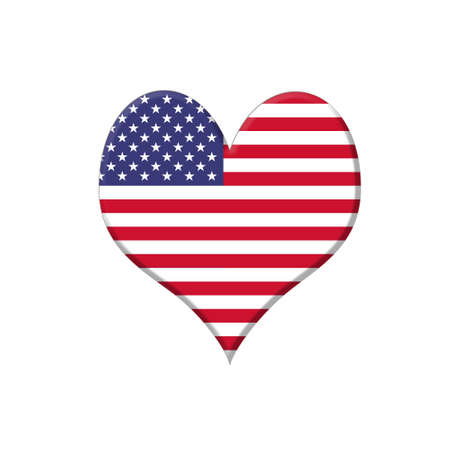 Illustration with a USA heart on white background Stock Illustration - 17972911