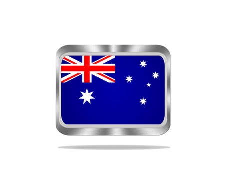 Illustration with a metal Australia flag on white background  illustration