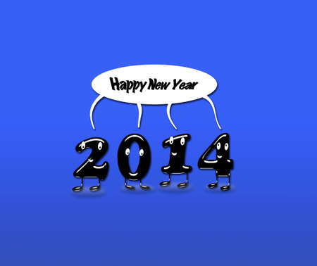 Illustration with 2014 Happy new year with a blue background  illustration