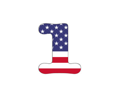 Illustration with number 1 USA flag on white background  Stock Illustration - 18011964