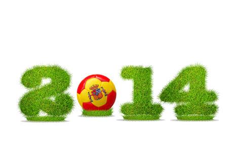 Illustration with Spain soccer  2014 on white background  illustration