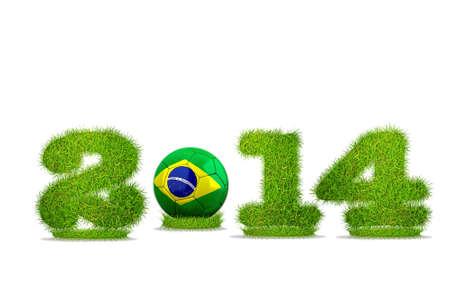 Illustration with Brazil soccer  2014 on white background  Stock Illustration - 18012005