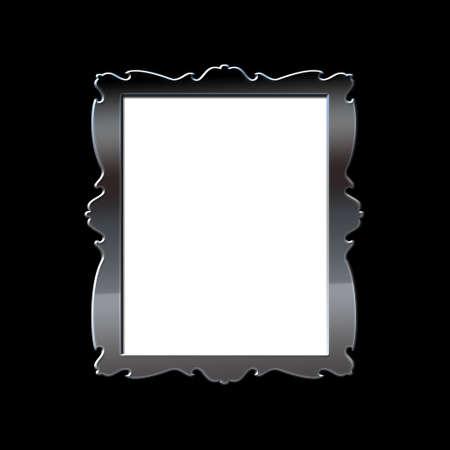 Illustration with a metal frame on black background  illustration