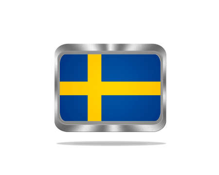 Illustration with a metal Sweden flag on white background  Stock Illustration - 18057127