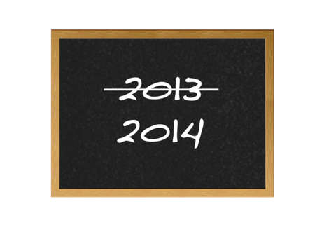 Isolated blackboard with end 2013 on white background  photo