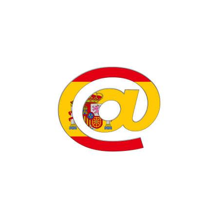 arroba: Illustration with arroba Spain  flag on white background