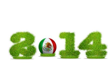 Illustrazione con il Messico di calcio 2014 su sfondo bianco Archivio Fotografico