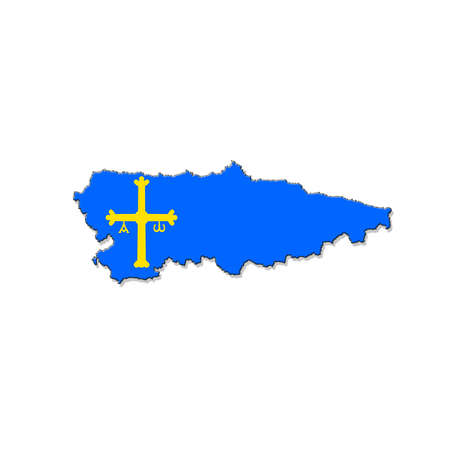 nbsp: Illustration with a Asturias map on white background