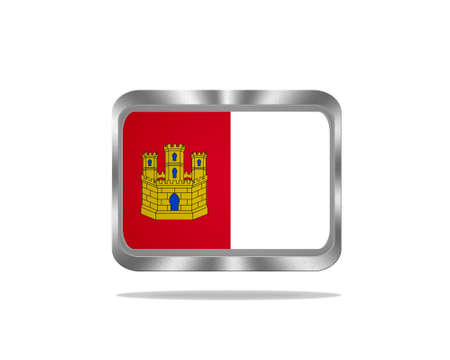 Illustration with a metal Castilla La Mancha flag on white background  illustration