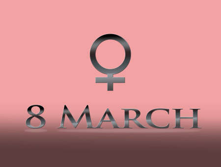 8 march: Illustration with 8 March on pink background