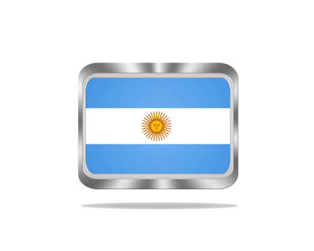 argentina flag: Illustration with a metal Argentina flag on white background  Stock Photo