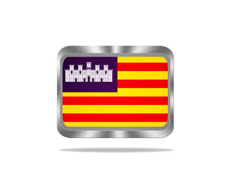 baleares: Illustration with a metal Baleares flag on white background  Stock Photo