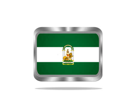 Illustration with a metal Andalusia flag on white background  illustration