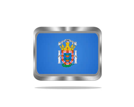 Illustration with a metal Melilla flag on white background  illustration