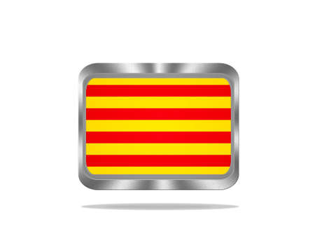 Illustration with a metal Catalonia flag on white background  illustration